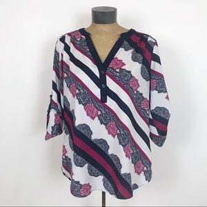 NY&Co beautiful stripe roll tab tunic
